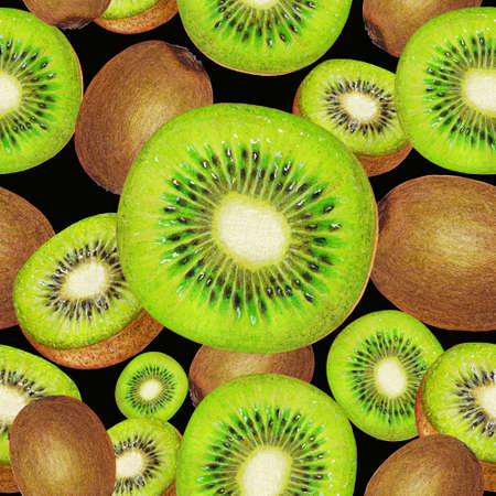 kiwi fruit: Seamless pattern of kiwi fruit Stock Photo