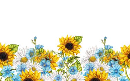 여름 꽃의 원활한 테두리
