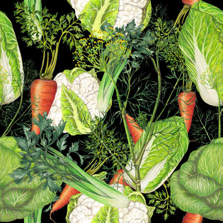 Seamless pattern of hand drawn vegetables