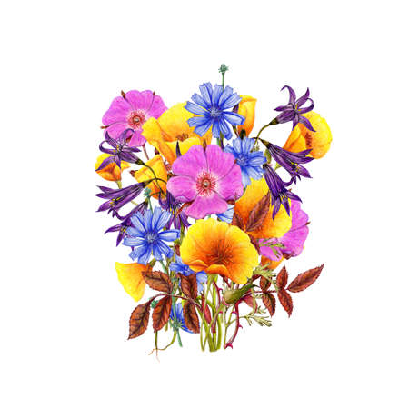 Hand drawn bouquet of beautiful flowers