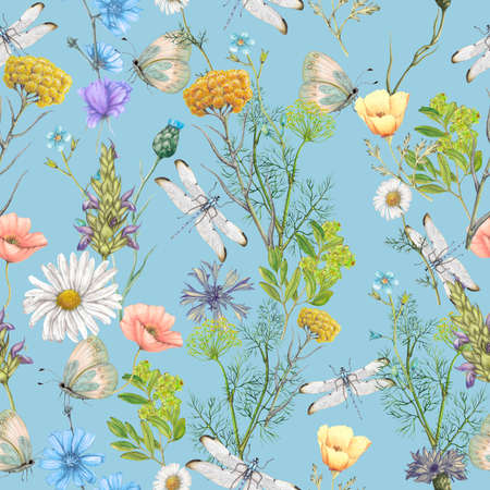 Seamless botanical pattern 版權商用圖片