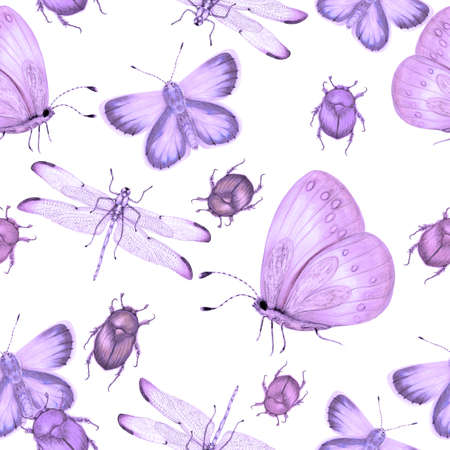 Seamless pattern of hand drawn insects