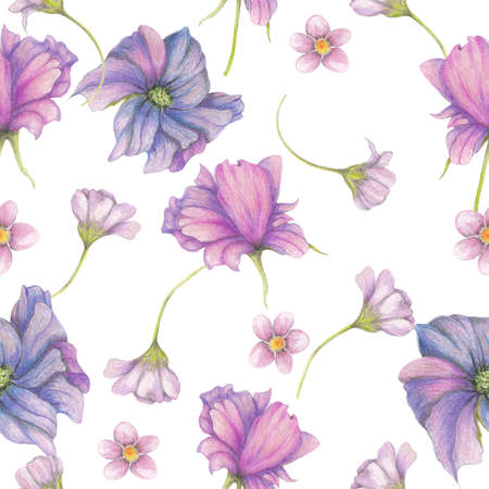 Seamless pattern of purple garden flowers