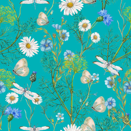 Hand drawn botanical seamless pattern of garden wildflowers,plants Archivio Fotografico - 123174289