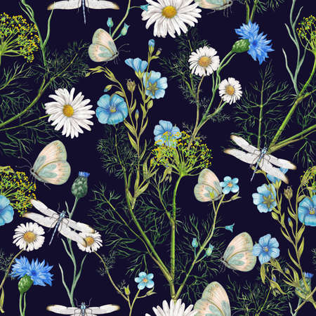 Hand drawn botanical seamless pattern of garden wildflowers,plants
