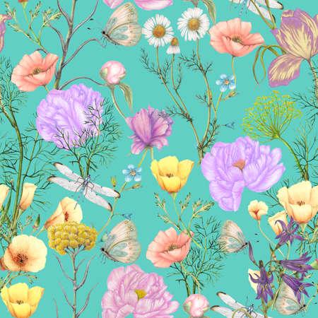 Hand drawn botanical seamless pattern of garden wildflowers,plants Foto de archivo - 123625165