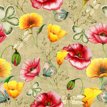 Hand drawn botanical seamless pattern of poppies,insects on grunge background
