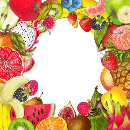 Organic fruit frame ,juicy fruits collection,hand drawn frame of sweet healthy fruits