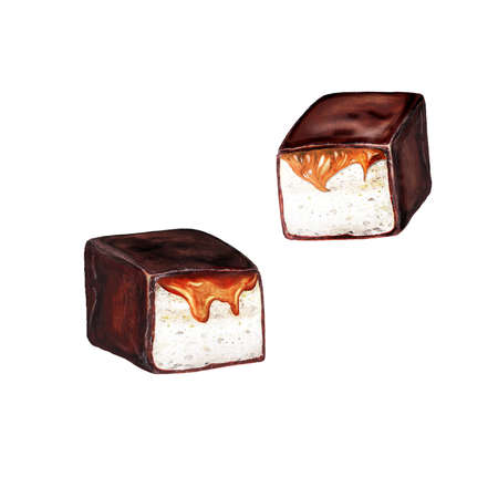 Watercolor isolated set of chocolate marshmallows with caramel