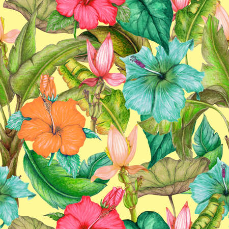 Seamless tropical pattern of exotic flowers,tropical leaves Stok Fotoğraf