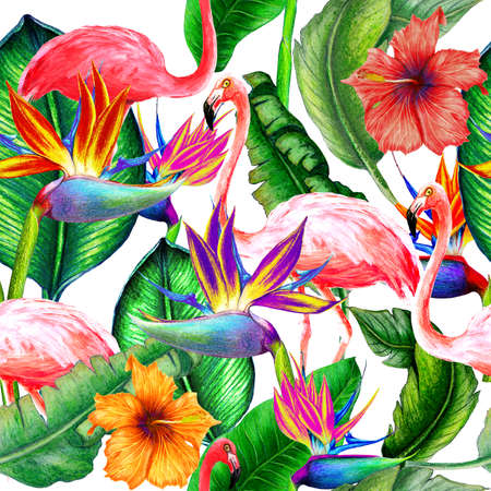 Seamless tropical pattern of watercolor flowers,flamingos and leaves