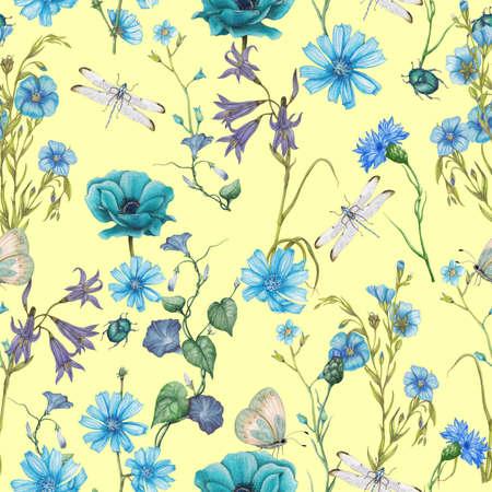 Seamless floral pattern of garden wildflowers