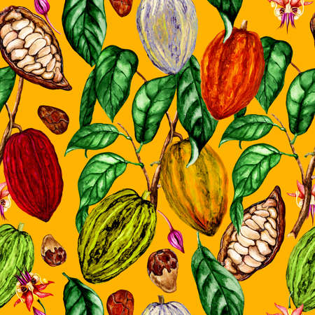Watercolor seamless pattern of  cocoa plant,cocoa flowers,cocoa beans,cocoa fruits