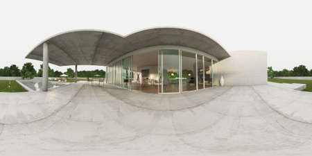 equirectangular: 360 panorama VR , 3d rendering of exterior modern villa. Living-room Table. 3D illustration.