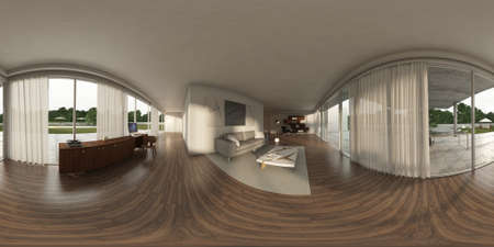 equirectangular: 360 panorama VR , 3d rendering of interior modern sofas. 3D illustration