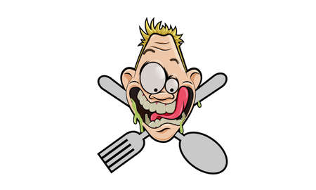 exaggerated: Hunger Expression Illustration