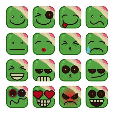 ashamed: Zombie Emoticon set