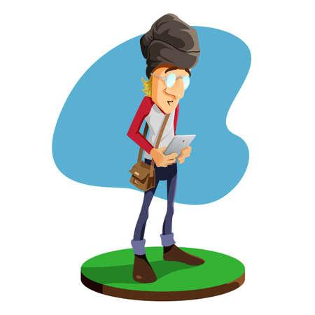 beanies: Man Holding Smartphones Illustration