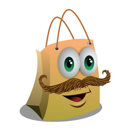 happy shopper: Shopping Bag Character Illustration