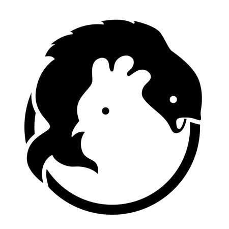 Chicken Fish Negative space Vektorové ilustrace