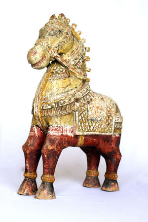 old wooden horse on a light background photo