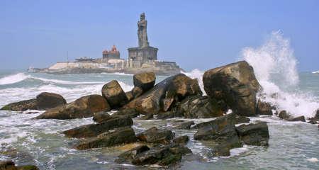 Thiru Valluvar staute in the sea at Kaniyakumari, india