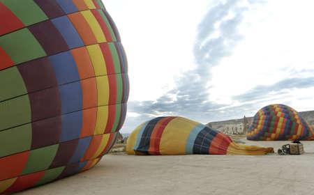 sheeny: preparing hot air balloons for flying at dawn