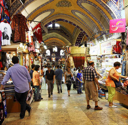 achitectural: Grand bazaar, Istanbul, Turkey - June 2011: busy acitivity and achitectural detail of arches and mosaics, square format, copy space and crop space