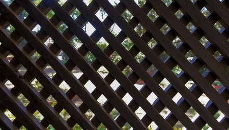 criss: landscape of dark man made wooden lattice screen off garden greenery, lawns and drive, pre noon take with sun comming through the trees Stock Photo