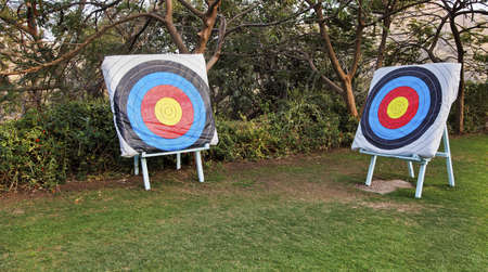 pratice: landscape of two diagonally set bulls eys pratice targets set on seasels on a lawn6281 Two diagonal adjascent archery bulls eye targets