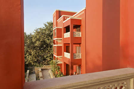 generic view from a balcony of Rajasthan concrete apartment block exterior painted in bright colors Stock Photo - 12972556