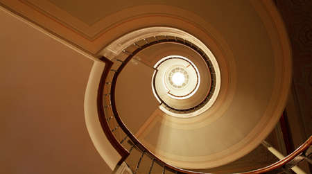 curvey architecture patterns of spiral staircase and diagonal decoration details