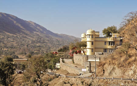 Picturesque scene from a vantage point on the backroad approach to Kumbhalgarh Fort taking in the valleys and terrain