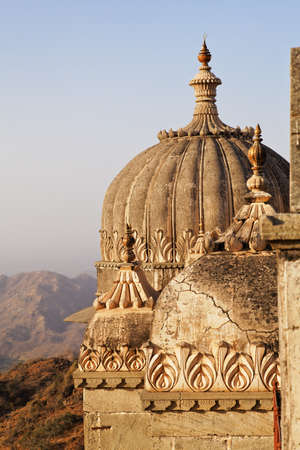 Sunset about to fall over the domes on the guest rooms to the royal visitors of Kumbhalghar Fort Rajasthan India Editorial