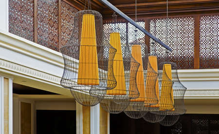 Stunning wire mesh lamp shades hallway feature. Shot location, Grand Hyatt, Goa, India