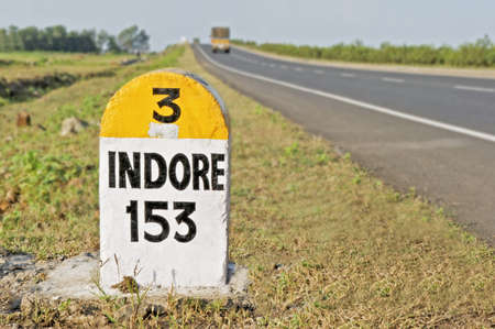 Horizontal capture of 153 kilometers to Indore Milestone on the National Highway 3 from Mumbai to Indore, the Agra Road, India