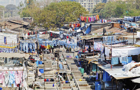 Dhobhi Ghat, Mumbai, India, Industrial scene from the viewing gallery at the commercial hand wash laundry in the heart of the city  Stock Photo - 16011719