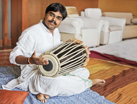 Hanumant Ghadge Tabla player from Maharashtra India during an accompaniment at private party in Bombay during April 2012
