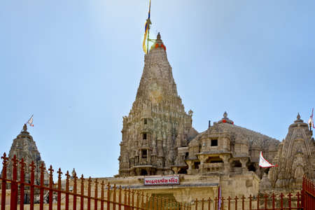 shree: Landscape capture of the  Shree Dwarakadheesh Temple from one of the side alleys in Guajarat India  The sign reads