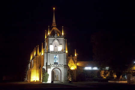 Horizontal landscape of Mae de Dues Church Goa India taken from the public road surrounding the property, generic night scene of the Portugese inspired religious architecture
