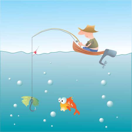 Golden Fishing Stock Vector - 3994492