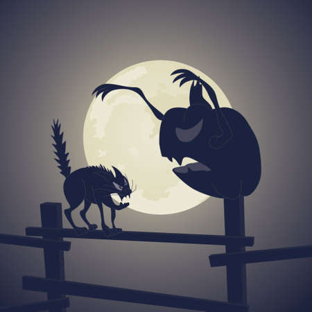 Vector. Black Cat vs Dark Pumpkin Stock Vector - 3994493