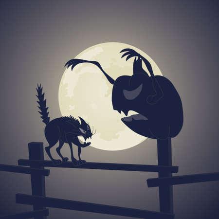 Vector. Black Cat vs Dark Pumpkin Stock Vector - 3994493