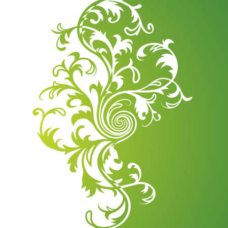 Vector. Green floral background Illustration