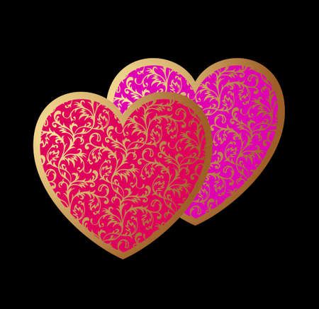 Romantic Card with Two Hearts Vector
