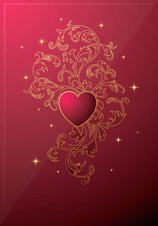 Vector. Heart ornament background Vector