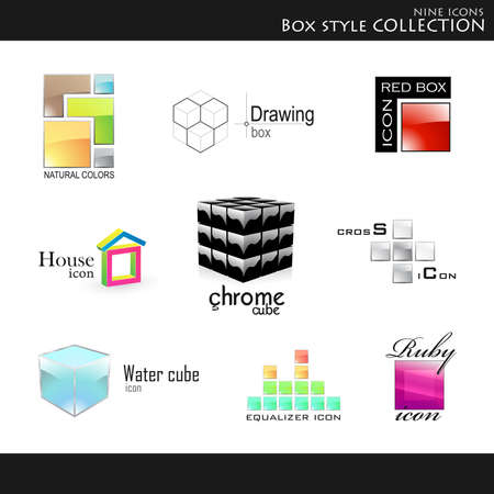 ruby house: Vector. Icons. Box style collection Illustration
