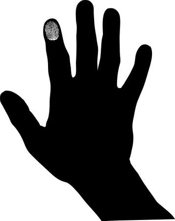 hand with one fingerprint