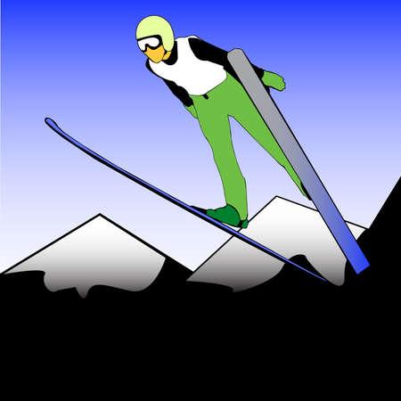 Ski Jumper in the air