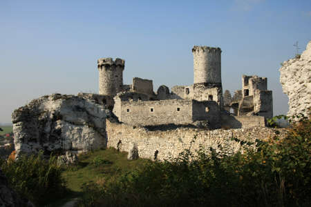 Ruins of great castle in Ogrodzieniec situated on natural rocks  photo